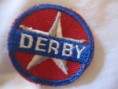 """""""DERBY"""" gas advertising patch, 1.75 inches, red and blue with star, vintage"""