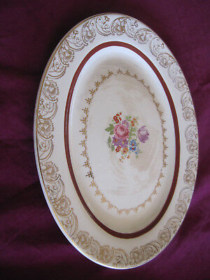 """Vintage serving platter. china, with floral center and gold trim,14"""""""