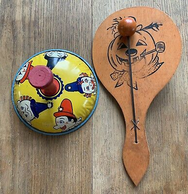 2-Vintage Antique Halloween Kirchhof Noisemakers Clowns Wood Paddle Pumpkin