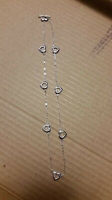 Sterling Silver Open Work Heart Toggle Necklace  18 Inches