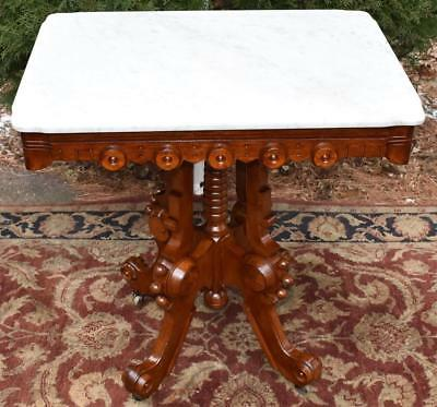 1880s Antique Victorian Eastlake Solid Mahogany Table with White Marble Top