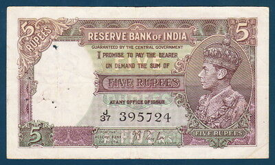 India/British (1937) 5 Rupees Sign J.B.Taylor - Scarce
