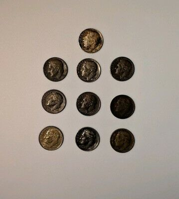 Lot Of Odd Toned/Colored US Roosevelt Dimes