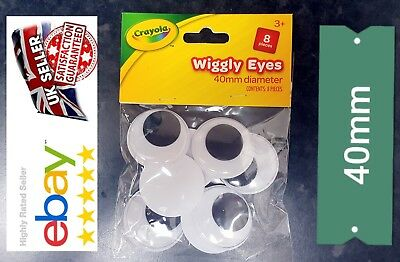 CRAYOLA LARGE SIZE 40mm X 8 WIBBLY  EYES| GOOGLY EYES| ART CRAFT'S| UK SELLER