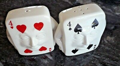 CARLTON WARE SALT & PEPPERPOTS. MODELLED AS PLAYING CARDS 4 of spades & 4of hear