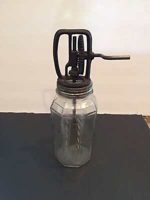 Vintage Hand Crank Owens Glass Jar 1 Quart Butter Churn Cast Iron Gears