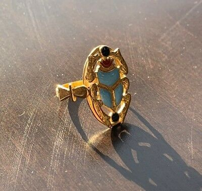 Antique Egyptian Revival Turquoise Scarab 18K Yellow Gold Women's Ring Size 8.5