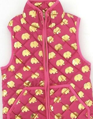 SIMPLY SOUTHERN TEES Girls Pink & Gold Elephant Puffer Vest Youth M 5 6 7 NWT