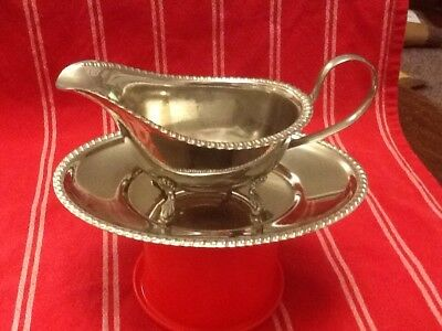 Vintage English Silver Plate Gravy Boat and Stand.