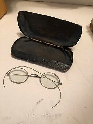Antique Wire Rim  Reading Glasses With  Metal Case.