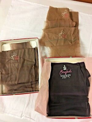 Lot of 5 Pairs of Vintage Seamless Nylons Size 11 Beige and Black