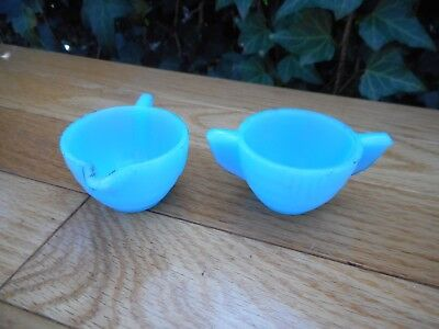 Rare Antique Art Deco Blue Opaline Miniature Creamer Sugar Eagle Hallmark