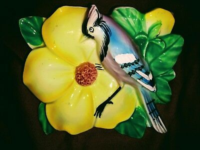 Vintage Wall Pocket Blue Jay Yellow Flower Made In Japan