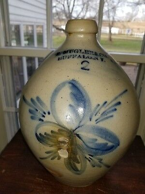 "Antique Primitive Salt Glazed Ovoid ""P. Mugler & Co."" Early Buffalo N.Y. Jug"