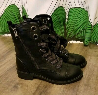 Express Combat Military Boots Black 6 Faux Leather Zip On Both Sides Thick Lace