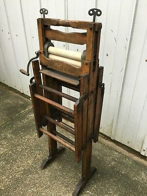 Antique Horse Shoe Brand American Upright Wringer Folding Bench - PERFECT