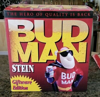 BUDWEISER BUD MAN HERO of QUALITY STEIN - 1993 - NEW in BOX - GIFTWARE EDITION