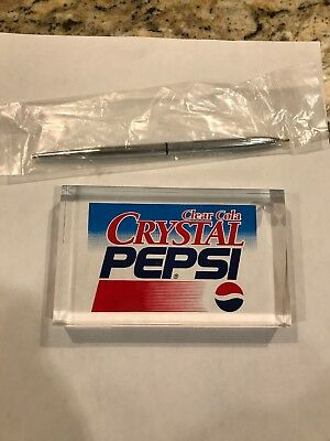 Crystal Pepsi Pen And Pen Holder And/Or Paper Weight