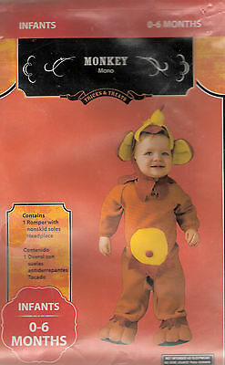 New Baby Infant Halloween Costume 0-6 Months Monkey - Adorable Two Piece Costume