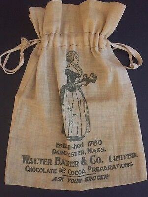 Country Store Cloth Bag Advertising Baker Chocolate Cocoa Circa 1910