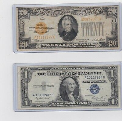 1928 $20 gold certificate & 1935E $1 silver certificate,1 each in new holder