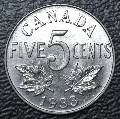 OLD CANADIAN COIN 1933 - FIVE CENTS - NICKEL - George V - Nice LUSTRE