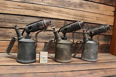 3 X Vintage Brass Blowtorch Companion Old Tool