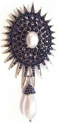 High End DESIGNER Vintage Estate GLASS CRYSTAL RHINESTONE STAR BURST BROOCH PIN
