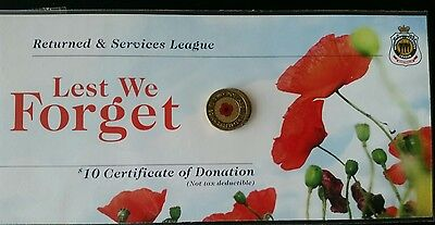 2012 Red poppy $2 Remembrance coin on RSL card UNC sealed, registered post