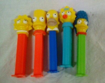 """Vintage """"Rare"""" THE SIMPSONS PEZ DISPENSERS - Homer, Marge, Lisa, Bart & Maggie"""