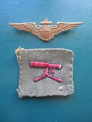 Naval Aviator Wings BB&B and WW1 Officer's MG Bttn. Patch