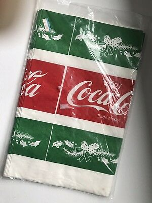 Vintage Coca Cola Paper Christmas Table Cloth Table Cover 1980's