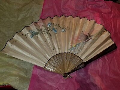 large vintage hand fan silk? sailboat and flowers