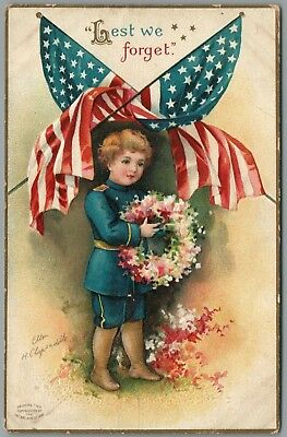 """Memorial Day Gar """"lest We Forget"""" Flags - A/s Clapsaddle 1909 P/u Postcard"""