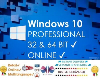 Microsoft Windows 10 Pro Professional Key Vollversion Code 32 & 64 Bit | Retail