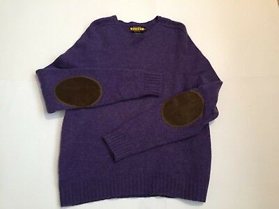 Mens  Rugby By Ralph Lauren Wool Crew Jumper Sweater Elbow patch Purple L XL EUC