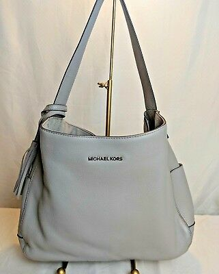 d0be56b41ed NEW Michael Kors ASHBURY Leather Large Slouchy Shoulder Bag Purse Tote -  Grey