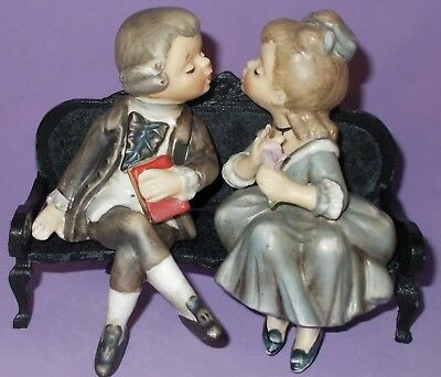 Vintage Kissing Colonial Couple Sitting on Sofa by Lefton