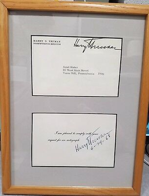 President Harry S Truman signed autographed vintage 1968 4x6 card, with LOA