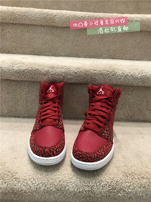 50f2449cc178e8 AIR JORDAN 1 Retro Hi Premium Big Kids 838850-600 Red Elephant Shoes ...
