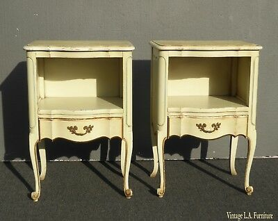 Pair of Vintage French Provincial Yellow Creme Nightstands ~ Finish As-Is