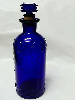 Cobalt Blue Quilted Lattice Poison Bottle with Original Stopper