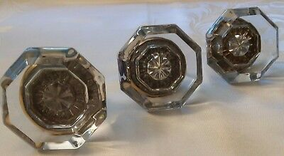 Three Antique Leaded Crystal Glass Door Knobs 8 point Victorian Eastlake Mint