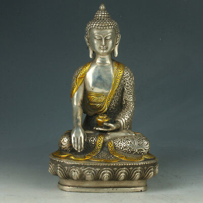 Chinese Silver Copper Figure of the Buddha With LotusThrone RT0011+b