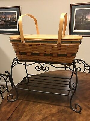 Longaberger Foundry Wrought Iron Stand, WoodCrafts Shelf & Basket With Liner