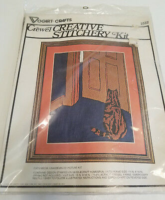 """Vtg 1977 TIGER TABBY CAT CREWEL EMBROIDERY KIT Vogart Crafts """"CAT'S MEOW"""" #2532"""