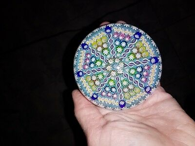 "Stunning Perthshire Glass Paperweight Millefiori ""p"" in center"