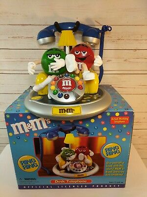 M&M Character Candy Telephone Talking Corded Desk Phone in Box Blue Handle