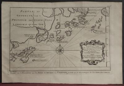 Guangzhou Macao Southeastern China 1757 Bellin/van Schley Unusual Antique Map