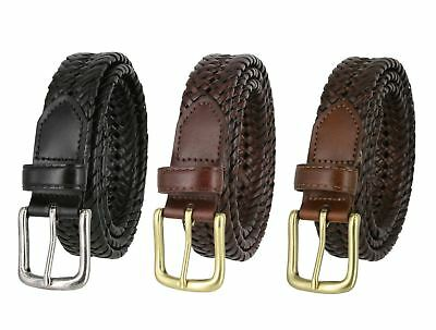 """Woven Genuine Braided Leather Belt 1-1/4"""" (32mm) Wide Black Brown Tan"""